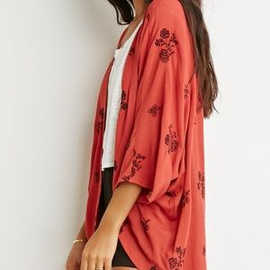 Forever 21 Rust Embroidered Kimono Cardigan